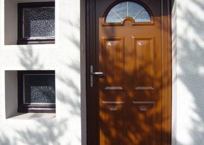 Porte d'entrée Alu, laqué marron