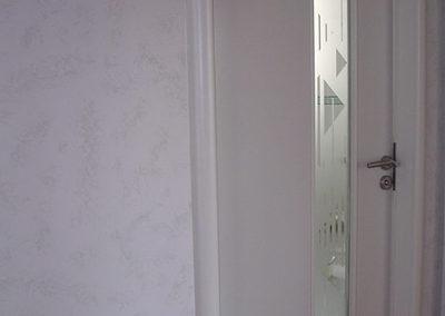 Porte intérieure, laqué blanc, vitrage décoratif